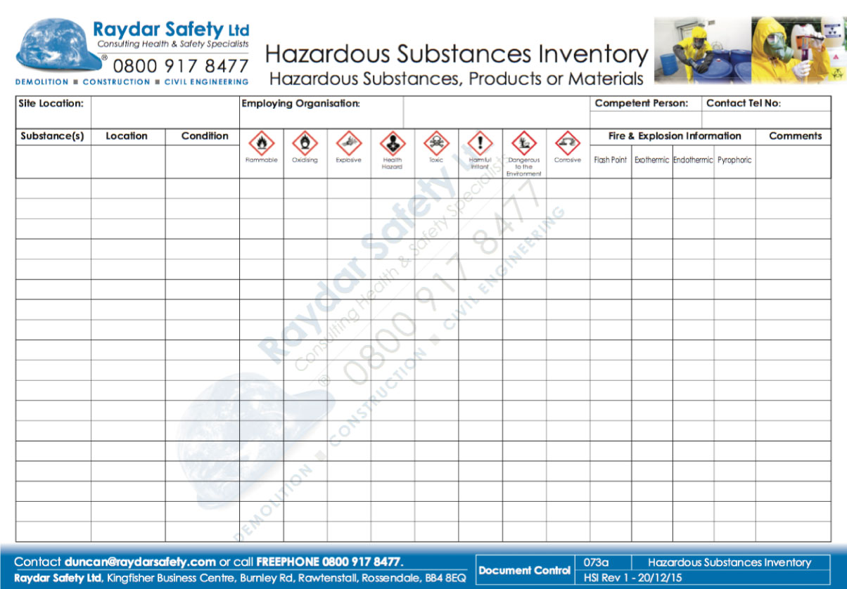 Fire explosion prevention raydar safety ltd for Hazardous substance register template